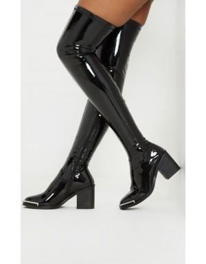 Black Thigh High Metal Detail Sock Boot
